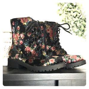 NWOT Madden Girl Velvet Floral Combat Boots